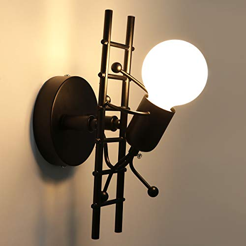 KAWELL Humanoid Creative Wall Light Indoor Wall Lamp Modern Wall Sconce Light Art Deco Iron for Bedroom, Children Room, Hallway, Restaurant, Stair, Black