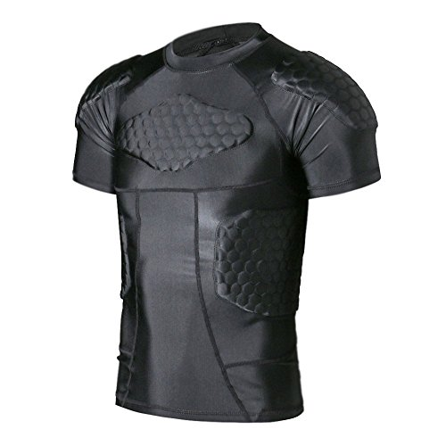 TUOY Men's Padded Compression Shirt Protective Shirt Rib Chest Protector for Football Paintball Baseball