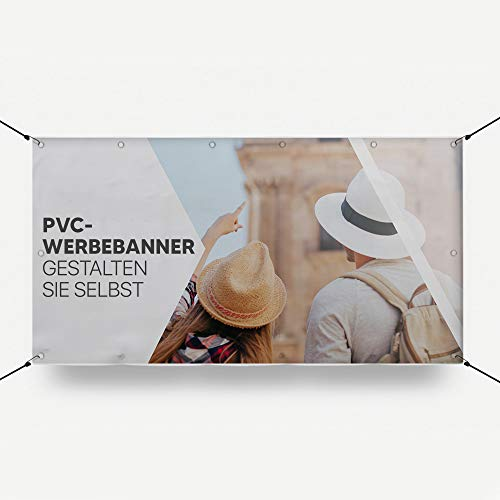 HoWar PVC Werbebanner Hochzeitsbanner Abi Banner selbst erstellen | Werbeplane zum selbst gestalten | Individuell und Personalisiert mit Ihrem eigene Wunschtext/Logo/Bild (200x90cm)