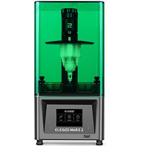 ELEGOO LCD Stampante 3D Mars 2 Mono a polimerizzazione UV con display LCD monocromatico 2K da 6 pollici, dimensioni di stampa 129 * 80 * 150 mm / 5,08 * 3,15 * 5,90 pollici.