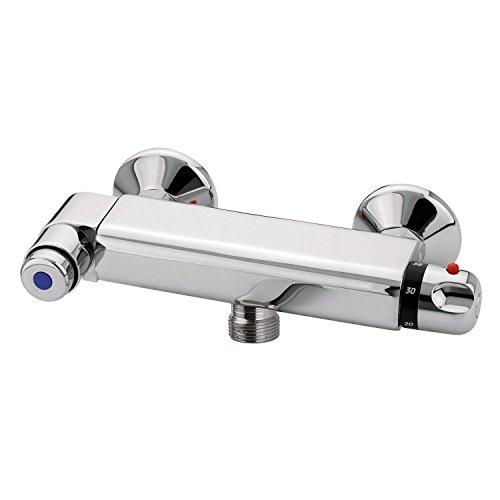 Sanixa EMID09022 Selbstschluss Dusch-Armatur | mit Thermostat | zeitgesteuert | selbstabschaltend Vorwand-Duscharmatur Schlag-Armatur Gewerbe-Armatur