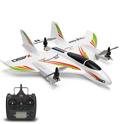 GoolRC WLtoys XK X450 RC Airplane, 2.4G 6CH RC Glider Fixed Wing Aircraft, 3 Flight Models Brushless RC Helicopters Vertical Takeoff Landing RTF for Adult