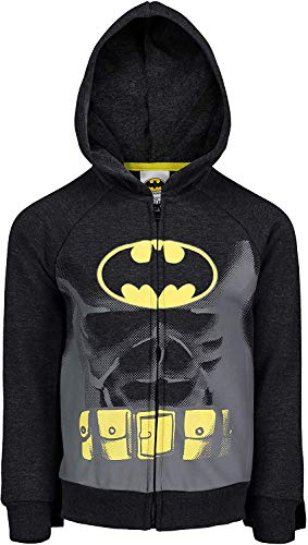 DC Comics (823593SUM) Batman Boys Fleece Hoodie with 3D Muscles and Cape in Grey, 4