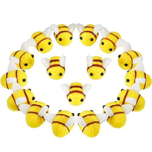 Wool Felt Bee Craft Balls Bee Craft Supplies for Halloween Costume Baby Shower Gender Reveal Party Nursery Tent Decoration DIY Craft Car Seat Grasping Bead Toys (20 Pieces)