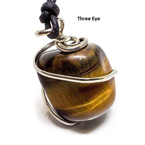 Three Eye Collar con Colgante de Ojo de Tigre de Tres Ojos; el líder de la Confianza trae Suerte y Prosperidad, Piedra auténtica sobre el Chakra de Gema Real
