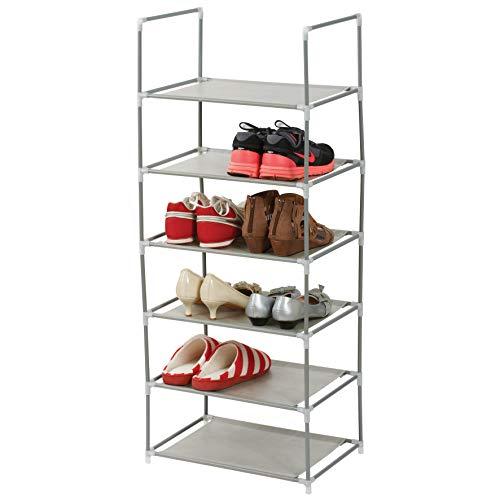 axentia Schuhregal mit 6 Ebenen - Schuhablage aus Metall - Regal-Ablage zur Aufbewahrung für bis zu...