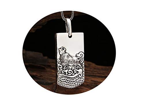 Abellale 925 Silber Anhänger Herren Tierkreis Anhänger Buddhismus Herrenkette Vieh Punk Halskette Herren