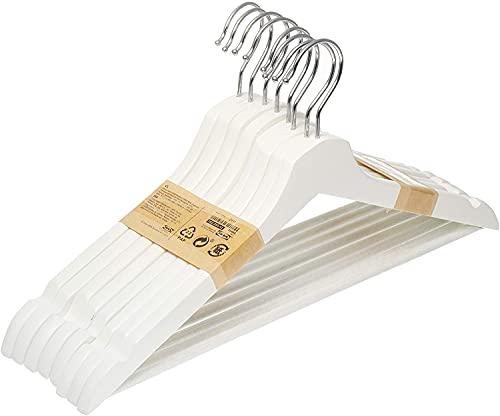Ikea Bumerang - Set di 8 grucce in Legno Massiccio, Colore: Legno Naturale, laccate in Acrilico