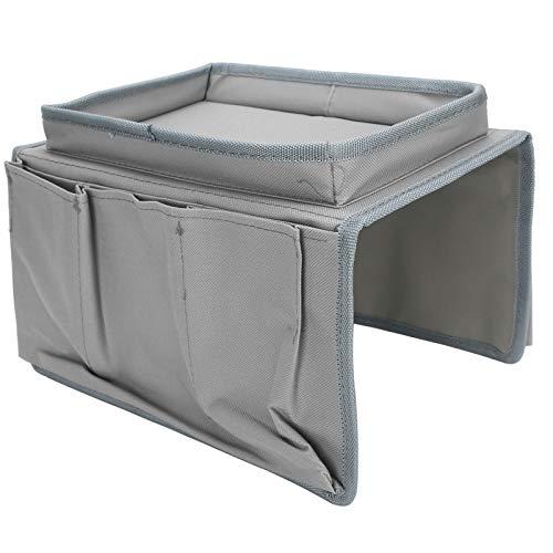 Bolsa de reposabrazos de sofá y Bolsa de Almacenamiento de sofá de Alta Capacidad Duradera Diseño de múltiples Bolsillos ordenados para el Departamento de Gafas(Grey)