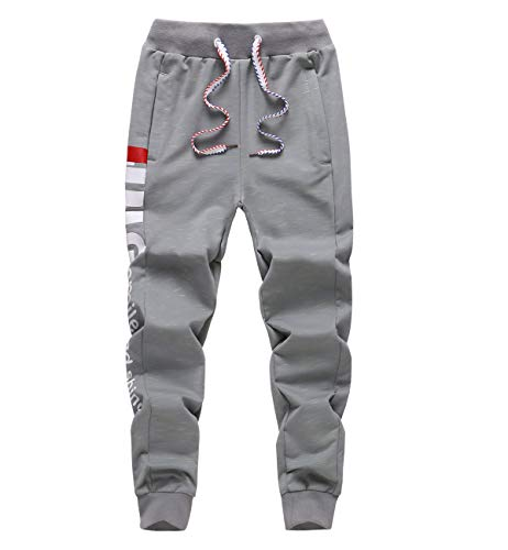 LAUSONS Junge Streetwear Sporthose Kinder Jogginghose Sweathosen, Grau, Größe 140/8-9 Jahre