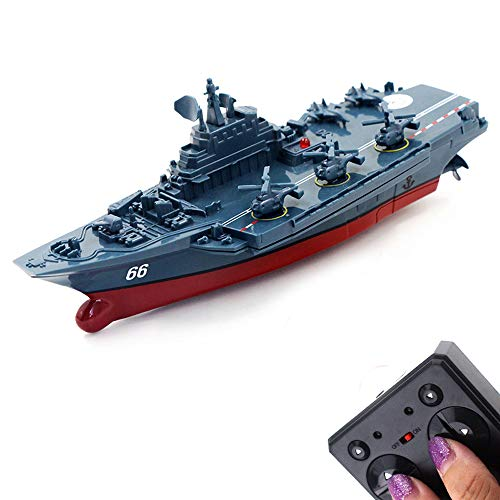 Tipmant Military Remote Control Aircraft Carrier Model RC Boat Ship Speedboat Yacht Electric Water Toy - Blue (2.4G, No Antenna)