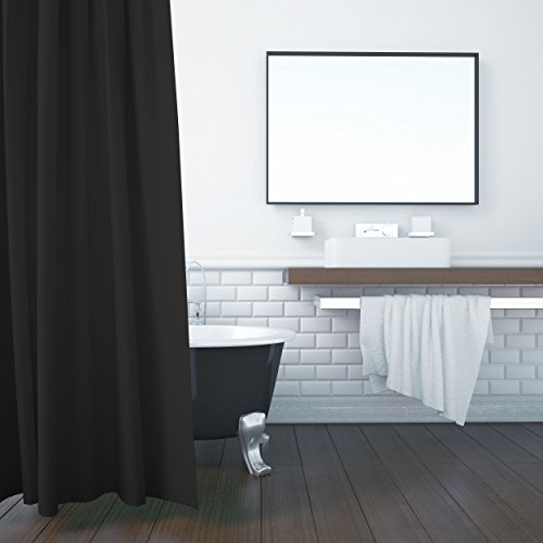 ZOLLNER Duschvorhang, 180x200 cm, Anti-Schimmel, schwarz (weitere verfügbar)