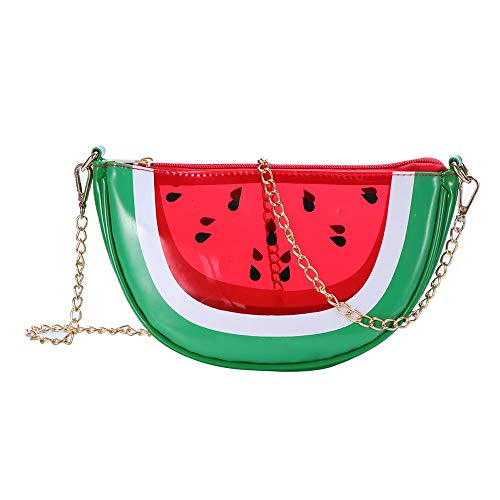 WILDFINDING Crossbody bags PU Transparent Fruit Style shoulder bags Waterproof Handbag Purse,Watermelon,17cm