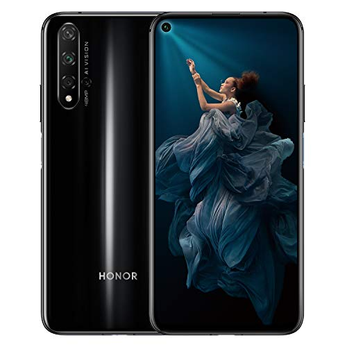 HONOR 20 Dual SIM Smartphone, 6.26 Inch Full View Display, 48 MP AI Quad Camera and 32MP in-screen selfie camera, 6GB RAM and 128 GB storage, Side Fingerprint, Midnight Black, UK Official Version