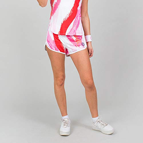 BIDI BADU Damen Sport Shorts Kurze Trainingshose Schnelltrockende Tennisshorts Weifl/Rot - Hulda Tech 2 In 1 Shorts - White/red, Grˆfle:M