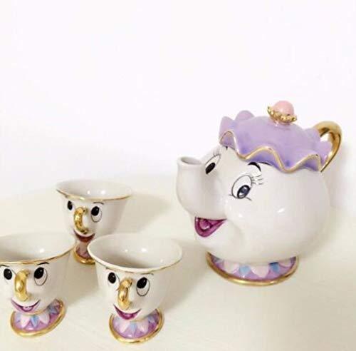 SYART Beperkte cartoon schoonheid en het beestbotten China beker theeset vrouw Potts and Chips theepot kop koffiekop set keramiek