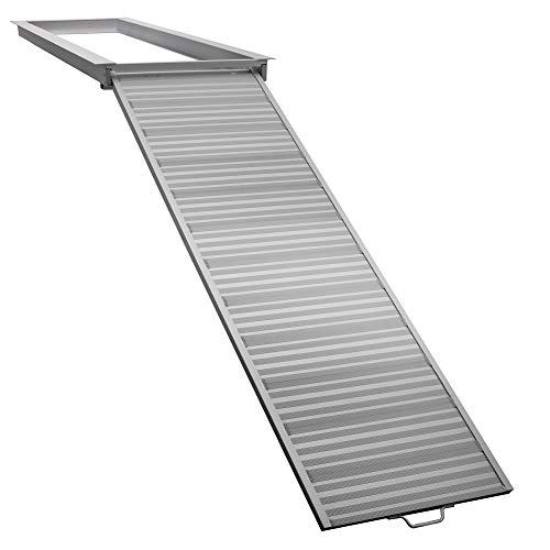 RecPro Pontoon Boat Aluminum Loading Ramp for Shore and Dock Boarding | 600lb Capacity | Non-Slip Surface