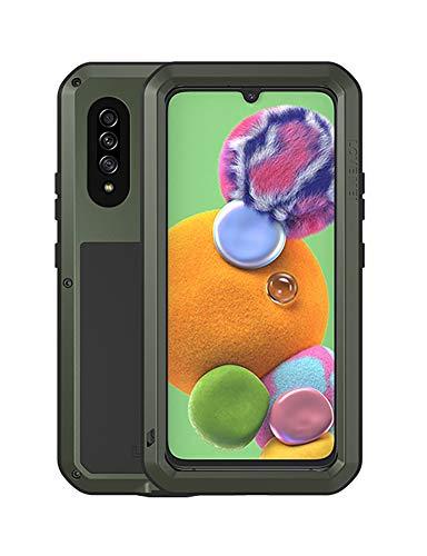 FONREST Ganzkörper Hülle für Samsung Galaxy A90 5G(6.7-Zoll), Love MEI Schwerlast Hybride Aluminium Metall Stoßfest Staubdicht Hülle mit Hartglas, Unterstützt Wireless Charging (Mitternachtsgrün)
