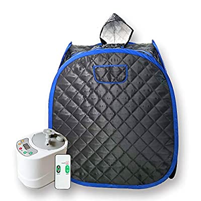 Smartmak Portable Sauna Kit, one Person Full Body at Home Spa Hat Tent, Include 2L Steamer with Remote Control for Detox & Weight Loss US Plug