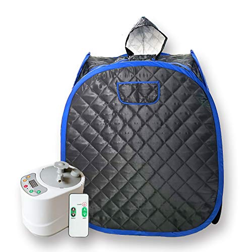 Smartmak Portable Sauna Kit, one Person Full Body at Home Spa Hat Tent, Include 2L Steamer with Remote Control for Detox & Weight Loss US Plug- Black