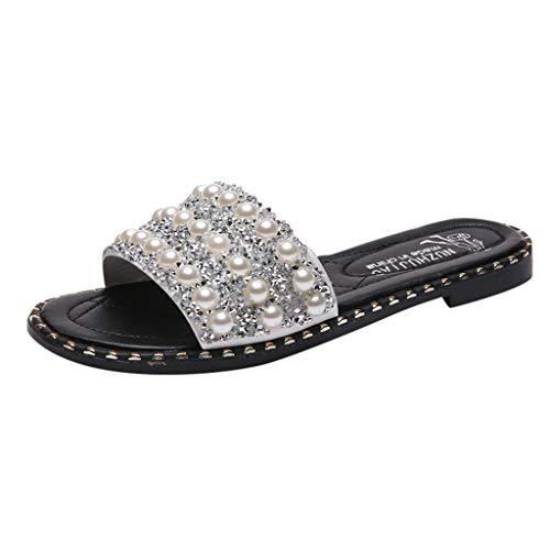 Hausschuhe Damen,Sommer Outdoor Slippers Mode Perlen Pailletten Flats Schuhe Wild Strandschuhe Lässige rutschfeste Flip Flops TWBB