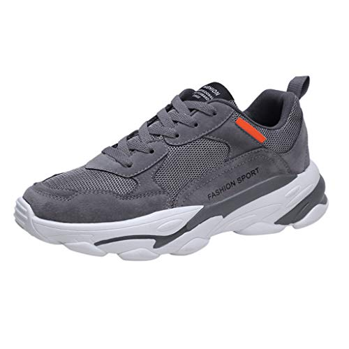 Men Retro Arch Support Sneakers Fly Woven Breathable Damping Outdoor Running Casual Shoes (Gray, 8.5)