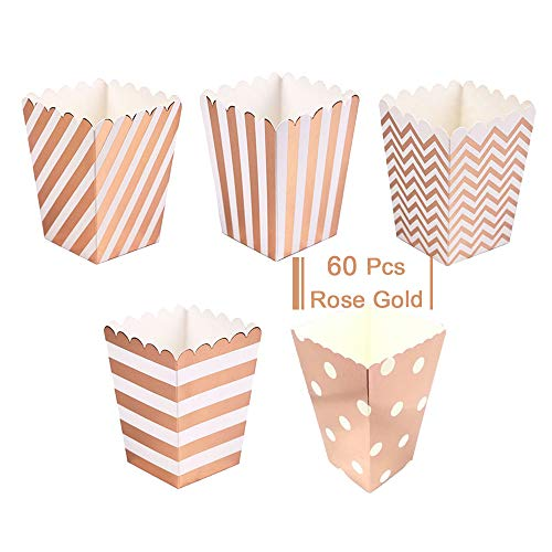 Rose Gold Open-Top Popcorn Box Set of 60 Popcorn Favor Boxes Cardboard Candy Container Parties Mini Paper Popcorn Containers for Birthday Bridal and Baby Shower Fiesta Dessert Tables Wedding Party
