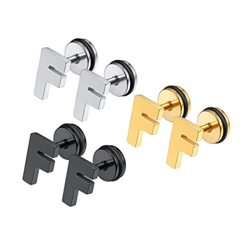 Letter F Initial Stud Earrings Alphabet Personalized Name Jewelry Stainless Steel Minimalist Simple Modern Bridesmaid Gift Monogram Tiny Earrings for Women
