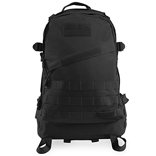 Highland Tactical Men's Stealth Heavy Duty Tactical Backpack, BLACK, One Size
