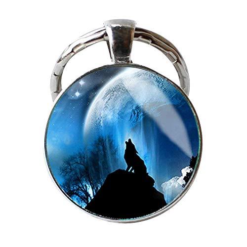Handgefertigter Wolf Schlüsselanhänger, einzigartiges Geburtstagsgeschenk, heulende Wölfe, Mond, Schlüsselanhänger