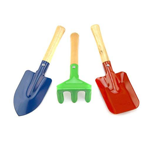 Poxcap Juego de herramientas de jardinería para niños Juego de pala para niños con pala inclinada Rastrillo Pala Juguetes de jardín Juguetes de exterior y de aprendizaje para niños 3 piezas