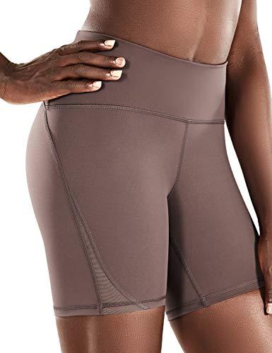 CRZ YOGA Women's Naked Feeling High Waisted Biker Shorts Tummy Control Sports Workout Yoga Shorts 6 Inches Purple Taupe - 6'' Zip Pocket Medium
