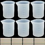 GLORHA 6 Piezas 100ml Vaso Medidor de Silicona para Resina, Precisa Tazas para Mezclar Antiadherentes para Mezclar Resina Epoxi Teñir Laboratorio Experimentos Científicos