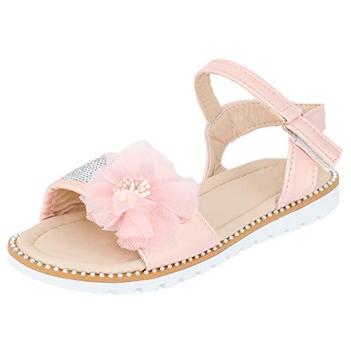 Mädchen Sandalen Sandaletten Kinder Schuhe mit Pailletten Klettverschluss M544rs Rosa 35 EU