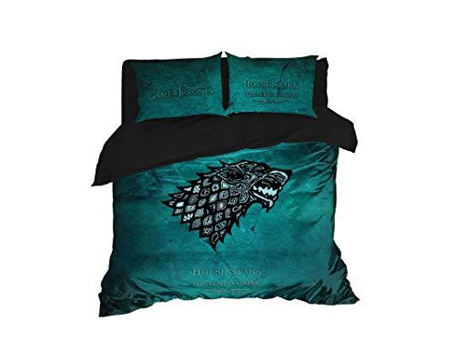 Set di biancheria da letto, ispirato al Trono di Spade, set copripiumino per letto matrimoniale, matrimoniale, matrimoniale, king size, 3 o 4 pezzi (king size 264 x 233 cm)