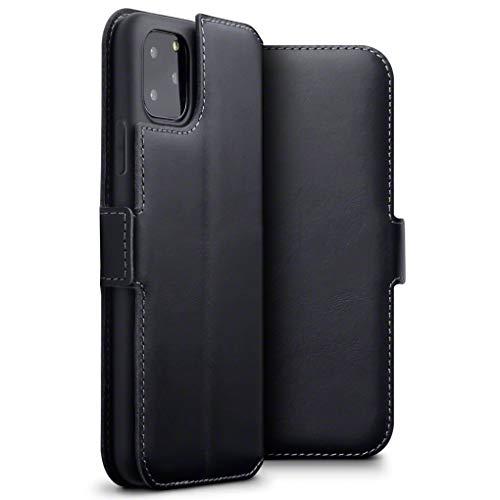 TERRAPIN, Kompatibel mit iPhone 11 Pro Max Hülle, Premium ECHT Spaltleder Flip Handyhülle iPhone 11 Pro Max Hülle Tasche Schutzhülle, Schwarz
