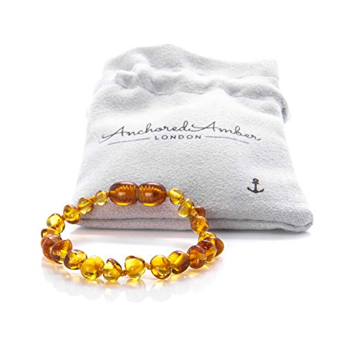 Premium Natural Baltic Amber Bracelet/Anklet - Anchored Amber. Genuine Amber with Certificate of Authenticity. 14cm (Honey)
