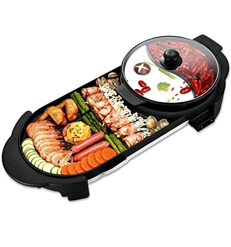2 in 1 Electric BBQ Grill Indoor Hot Pot 1500W Non-Stick Baking Pan Separate Dual Temperature Control Smokeless Barbecue Machine
