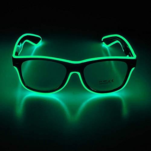 KingCorey Leuchten Sie EL Wire Neon Rave Brille Glow Flashing LED Sonnenbrille Kostüme für Party, EDM, Halloween (Grün)