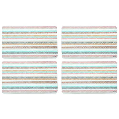 Kesper 31254 Dekor-Frühstücksbrettchen mit Streifen, Melamin, eckig 23,5 x 14,5 x 0,4 cm (4 Stück)