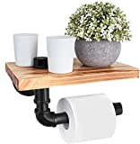 Toilet Paper Holder with Shelf - Wall Mounted Tissue Holder for Bathroom, Washroom Rustic Wooden and Cast Iron Pipe (Cast Iron T1)