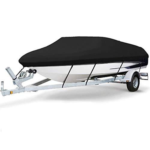 Gycdwjh Funda de Lancha Motora Impermeable, 11-24FT Cobertor para Barco 420D Heavy Duty Boat Cover Durable Materiales Oxford para V-Hull Runabout Fácil de Almacenar,Negro,14to16FT