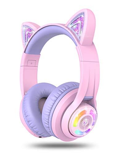 iClever Auriculares Bluetooth para niños de Hello Kitty, para niños y niñas, con control de volumen ajustable de 85/94 dB, con micrófono para la escuela/tableta, teléfono móvil, PC, TV