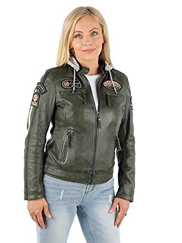 ROXBIKE Lederjacke Damen mit Kapuze, grün, Motorradjacke Damen aus Leder mit Protektoren, Bikerjacke Damen aus Echtleder
