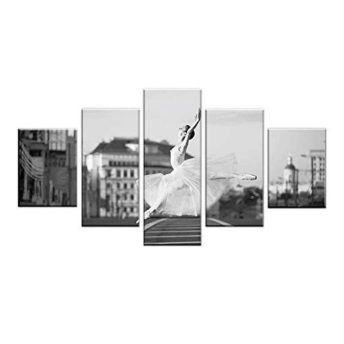 zuomo 5 Paneles Trasero y Cartel Blanco Flor Ballet Danza niñas Arte de la Pared impresión en Lienzo Pintura Imagen decoración de la Sala de Estar 30x40 30x60 30x80cm sin Marco