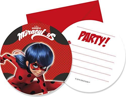 Procos Ladybug-Einladungskarten mit Briefumschlägen Kindergeburtstag 6 Stück rot-schwarz