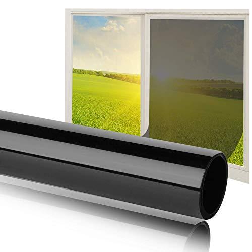 havalime Sonnenschutz Spiegelfolie Fensterfolie Schwarz getönt UV-Schutz reduzierte Helligkeit hochglanzverspiegelt Kratzfest selbstklebend für Außen- und Innenmontage statische Folie 200 x 90 cm