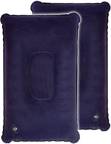 HOMETOOLS.EU® - 2X Sitz-Kissen Kopf-Kissen faltbar und aufblasbar, Reise Auto Bus Bahn Flugzeug Camping Zelt, Luft-Kissen mit Sicherheitsventil, 2er Set blau