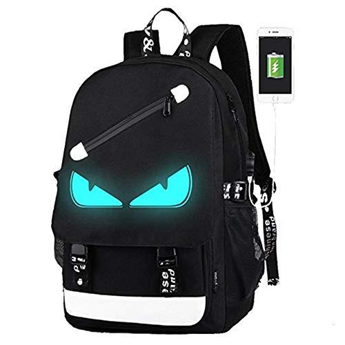 YL07011-QQ52 Rucksack für Teenager, Mädchen, mit Anime-Motiv, leuchtende Schulranzen, Tagesrucksack, USB-Ladeanschluss, Laptop-Tasche für Mädchen, Jungen, Herren, Frauen, Schwarz