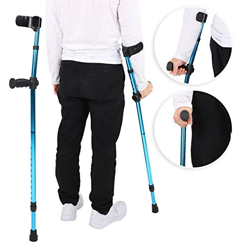 Folding Aluminum Walking Forearm Crutches for Adults and Youth,Adjustable Lightweight Arm Cuff Crutch with Ergonomic Grip,Comfortable on Wrist, Non Skid Replaceable Rubber Tip, Gifts